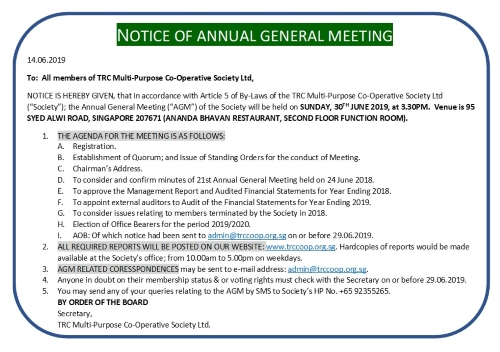 BACK PAGE OF AGM NOTICE
